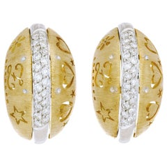 .28 Carat Diamond Domed Yellow Gold Lever Back Earrings