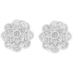 2.8 Carat Diamond VS Quality Flower/Cluster Earring 18 Karat White Gold