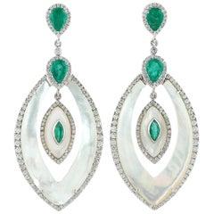 2.8 Carat Emerald Mother of Pearl Diamond 18 Karat Gold Earrings