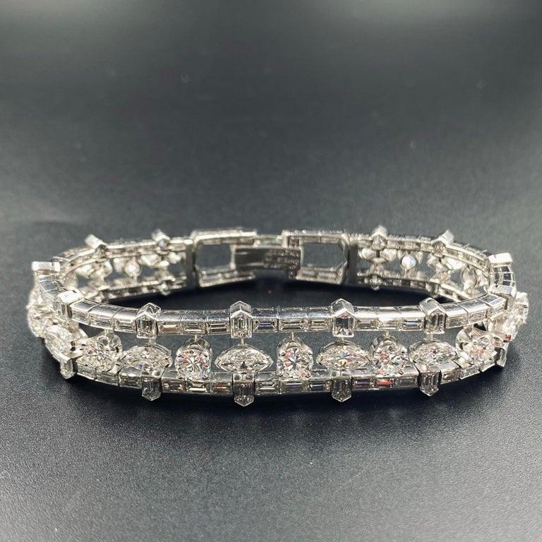 28 Carat Multi-Shaped Diamond and Platinum Bracelet by Van Cleef & Arpels For Sale 2