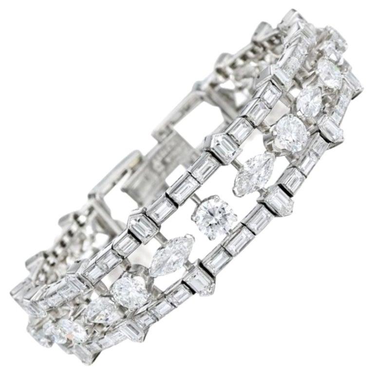 28 Carat Multi-Shaped Diamond and Platinum Bracelet by Van Cleef & Arpels For Sale