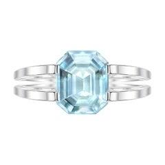 2,8 Carat Natural Grandidierite 18 Karat White Gold Geometric Cocktail Ring