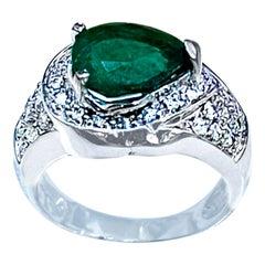 2.8 Carat Pear Cut Emerald and Diamond Ring 14 Karat White Gold