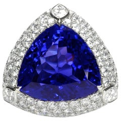 28 Carat Tanzanite Diamond Platinum Ring