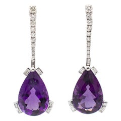 28 ct Drops Amethyst, Round and Emerald Cut Diamonds, 18kt White Gold Earrings