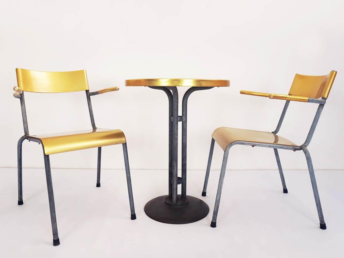 13 Pieces Of Swiss Stackable Chairs In Yellow Aluminum And