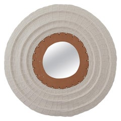 "28"" Round Woven Cotton and Ceramic Mirror in White and Natural Terracotta"