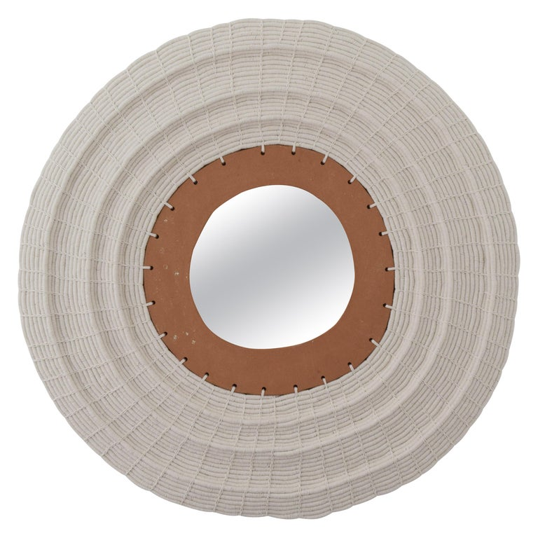 "28"" Round Woven Cotton and Ceramic Mirror in White and Natural Terracotta For Sale"