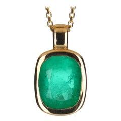 2.80-Carat 14K Colombian Emerald Cushion Cut Solitaire Pendant Bezel Set