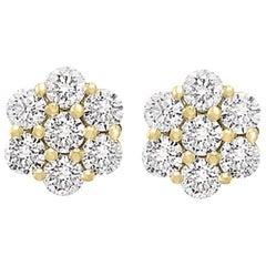 2.80 Carat, 7 Diamond Floral Cluster Flower Stud Earrings 14 Karat Yellow Gold