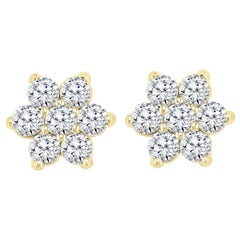 2.80 Carat 7 Diamond Floral Cluster Flower Stud Earrings in 14 Karat Yellow Gold