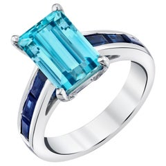 2.80 Carat Aquamarine and Blue Sapphire Ring, 18 Karat White Gold