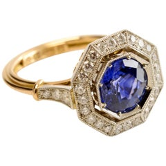 2.80 Carat Blue Ceylon Sapphire and Octagonal Diamond Halo Ring