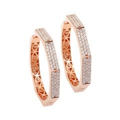 2.80 Carat Diamond 18 Karat Rose Gold Hexagon Hoop Earrings
