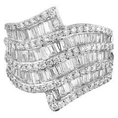 2.80 Carat Diamond Nine-Row Tapered Swirl Wide Gold Cocktail Ring