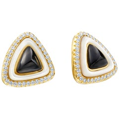 2.80 Carat Diamonds, Black Onyx, 18 Karat Yellow Gold, Mother of Pearl Earrings