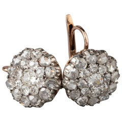 2.80 Carat Diamonds Late 19th Century Earrings