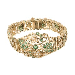 2.80 Carat Emerald Pearl Yellow Gold Bracelet