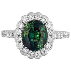 2.80 Carat Green Sapphire Diamond Cockatil Ring