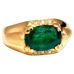 2.80 Carat Natural Emerald Diamonds Men's Ring 16 Karat