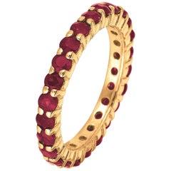 2.80 Carat Natural Ruby Eternity Band Ring 14 Karat Yellow Gold