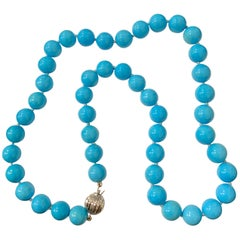 280 Carat Natural Sleeping Beauty Turquoise Necklace Single Strand 14 Karat Gold