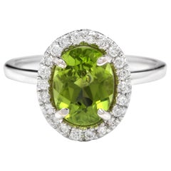 2.80 Carat Natural Very Nice Looking Peridot and Diamond 14K Solid Gold Ring