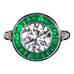 2.80 Carat Old European Cut Emerald Halo Gold Solitaire Ring