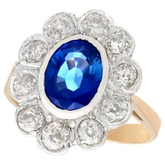 2.80 Carat Sapphire and 1.50 Carat Diamond Rose Gold Silver Set Cocktail Ring
