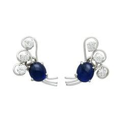 2.80 Carat Sapphire and 1.78 Carat Diamond Platinum Earrings, Circa 1940