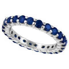 2.80 Carat Sapphire Eternity Ring Band 14 Karat White Gold