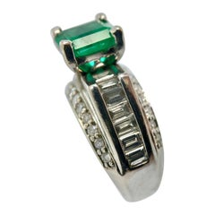 2.80 Carat Square Colombian Emeralds and Diamond Engagement Ring White Gold