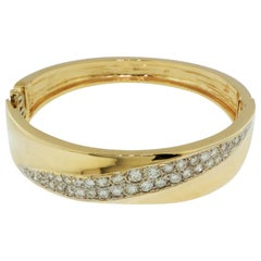 2.80 Carat Total Diamond Pave Hinged Bangle Cuff Bracelet 14 Karat Yellow Gold
