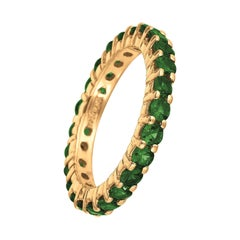 2.80 Carat Tsavorite Eternity Ring Band 14 Karat Yellow Gold