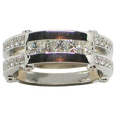 2.80 Carat White Gold Princess Cut Diamond Men's Ring
