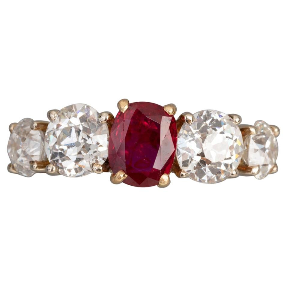 2.80 Carat Diamonds and 1.20 Carat Ruby French Band Ring