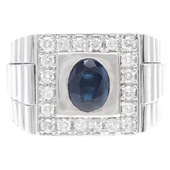 2.80 Carats Natural Diamond & Blue Sapphire 14K Solid White Gold Men's Ring