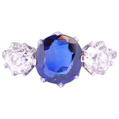 2.80 Carat Burma Blue Sapphire and Diamond 3-Stone Ring