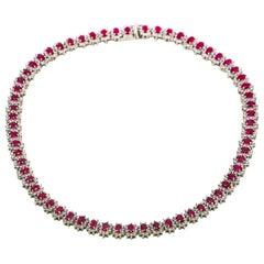 28.00 Carat 14 Karat Gold Burma Ruby Diamond Tennis Necklace GemLab Appraisal
