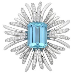 28.00 Carat Aquamarine and Diamond Brooch