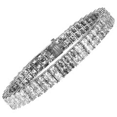 28.01 Carat Two-Row Asscher Cut Diamond Bracelet