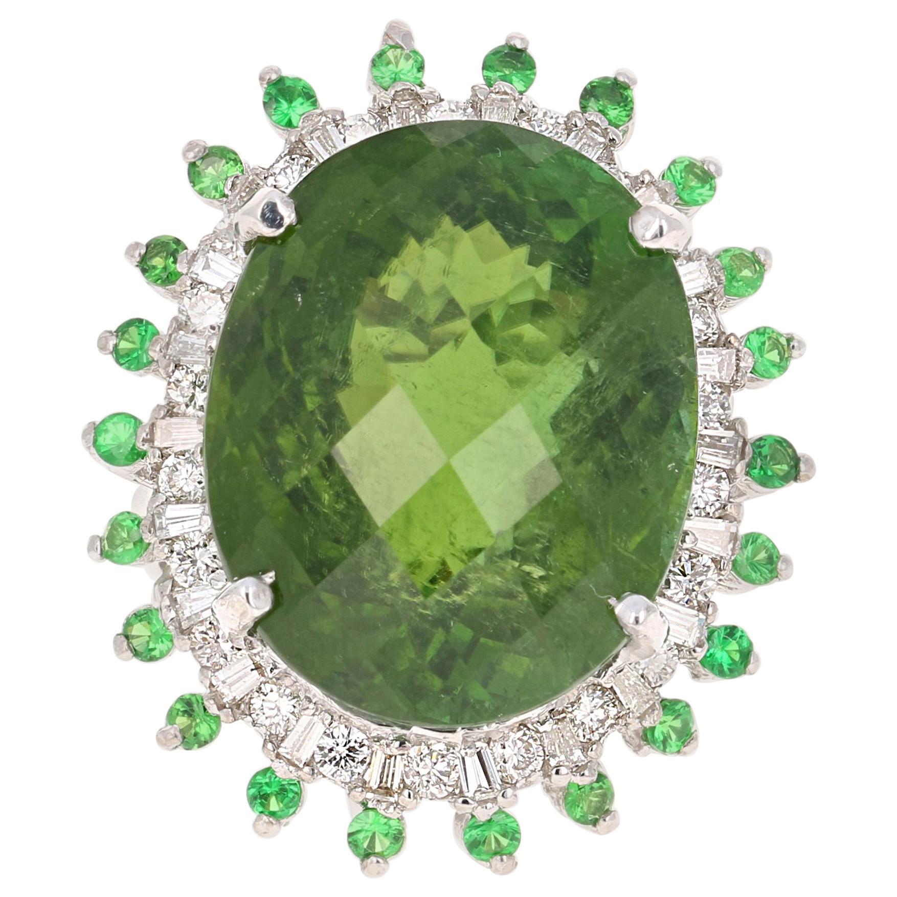 28.03 Carat Green Tourmaline Tsavorite Diamond 14 Karat White Gold Cocktail Ring