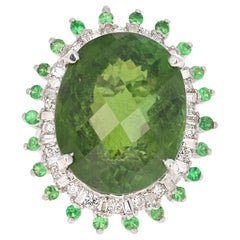 28.03 Carat Green Tourmaline Tsavorite Diamond 14 Karat White Gold Cocktail Ring