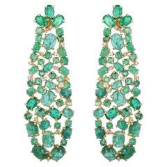28.06 Carat Emerald Diamond Fluid Earrings