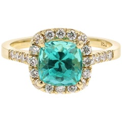 2.81 Carat Apatite Diamond 18 Karat Yellow Gold Engagement Ring