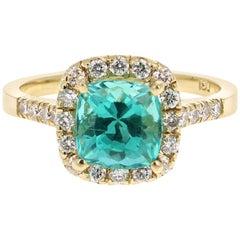 2.81 Carat Apatite Diamond 18 Karat Yellow Gold Engagement Ring