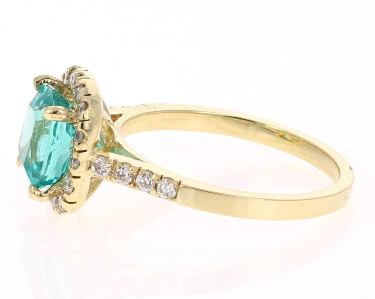 Modern 2.81 Carat Apatite Diamond 18K White Gold Engagement Ring