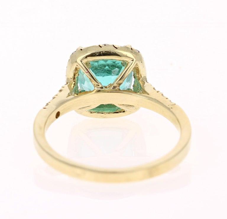 Cushion Cut 2.81 Carat Apatite Diamond 18K White Gold Engagement Ring
