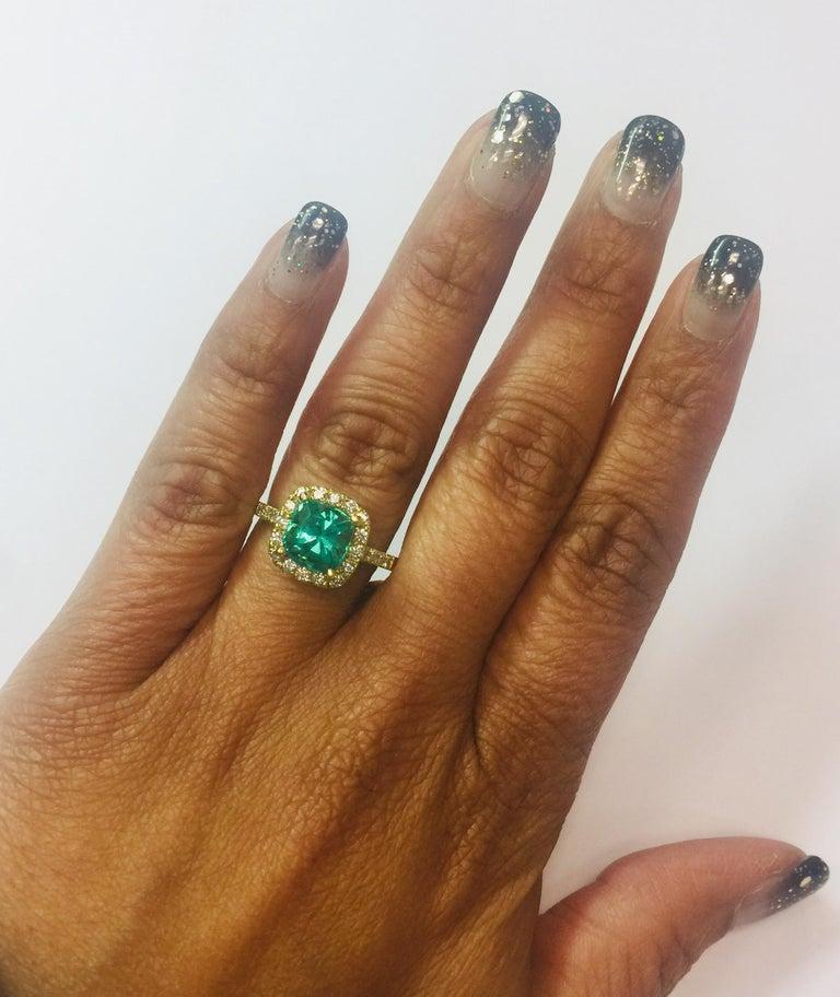 Women's 2.81 Carat Apatite Diamond 18K White Gold Engagement Ring