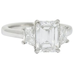 2.81 Carat Emerald Cut Diamond Platinum 3 Stone Engagement Ring GIA